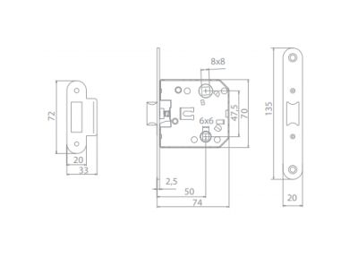 комплект a-2005 wc МВМ  Фурнитура для дверей
