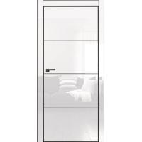 Двери Омега Galaxy Metalbox глянец White HG 601 + AL Black